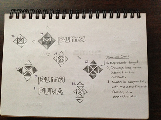 Purdue University Marketing Association logo design sketches